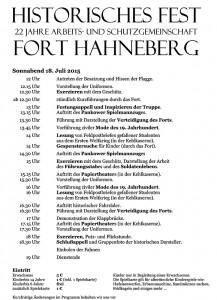 Programm des Historischen Festes 2015