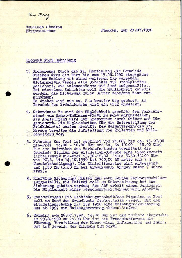 Sicherung und Erschließung Fort Hahneberg, Juli 1990
