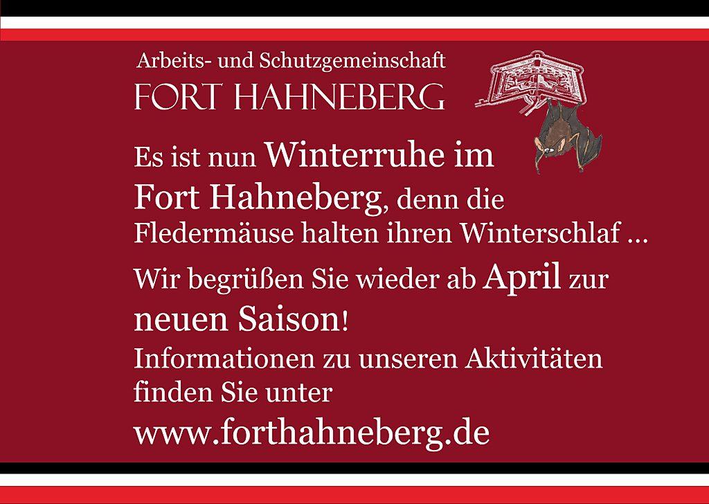Winterruhe im Fort Hahneberg