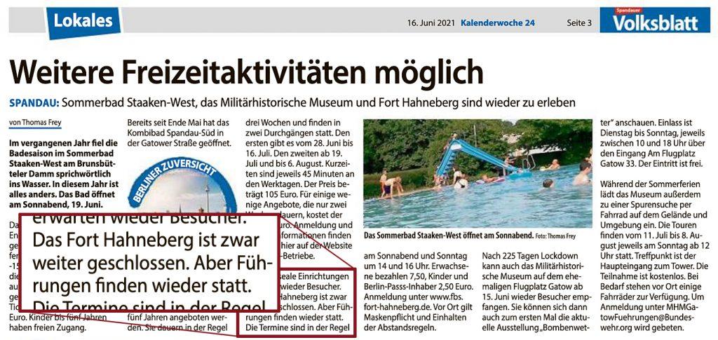 Führungen in Fort Hahneberg