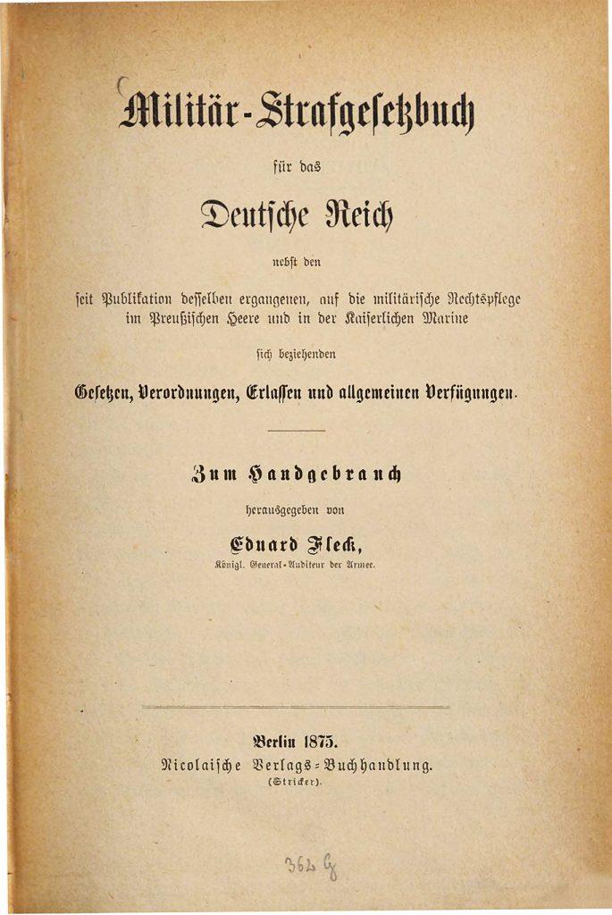 Militär-Strafgesetzbuch 1875